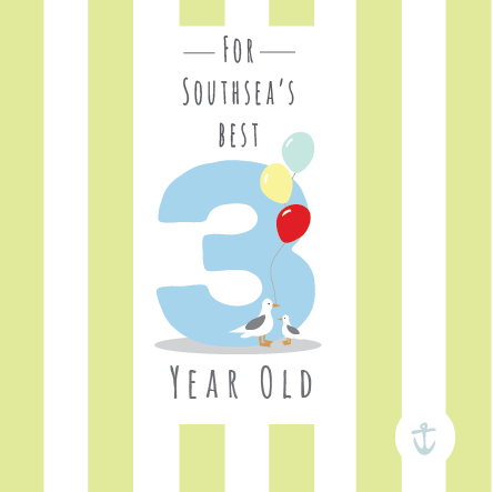 Kids Southsea's Best 3 Year Old Card