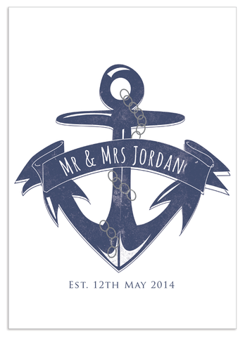 Personalised Anchor Wedding Print
