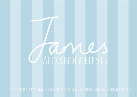 Personalised Blue Stripey Nursery Print