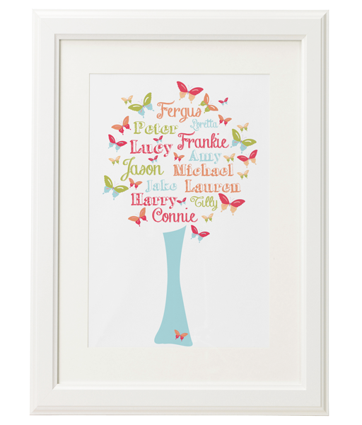 Personalised Family Tree 'Butterfly' Design