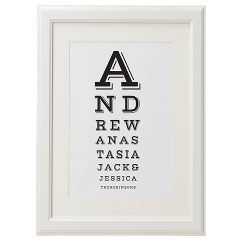 Personalised Family 'Eye Test' Print