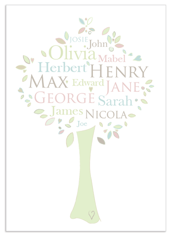 Personalised Family Tree 'Maple' design