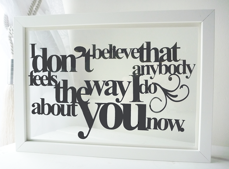 personalised floating word quote - Word Frame