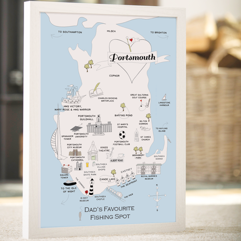 Personalised Portsmouth 'Favourite Fishing Spot' Map