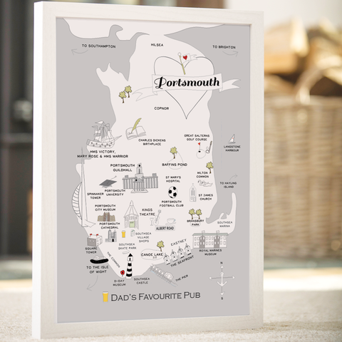 Personalised Portsmouth 'Favourite Pub' Map