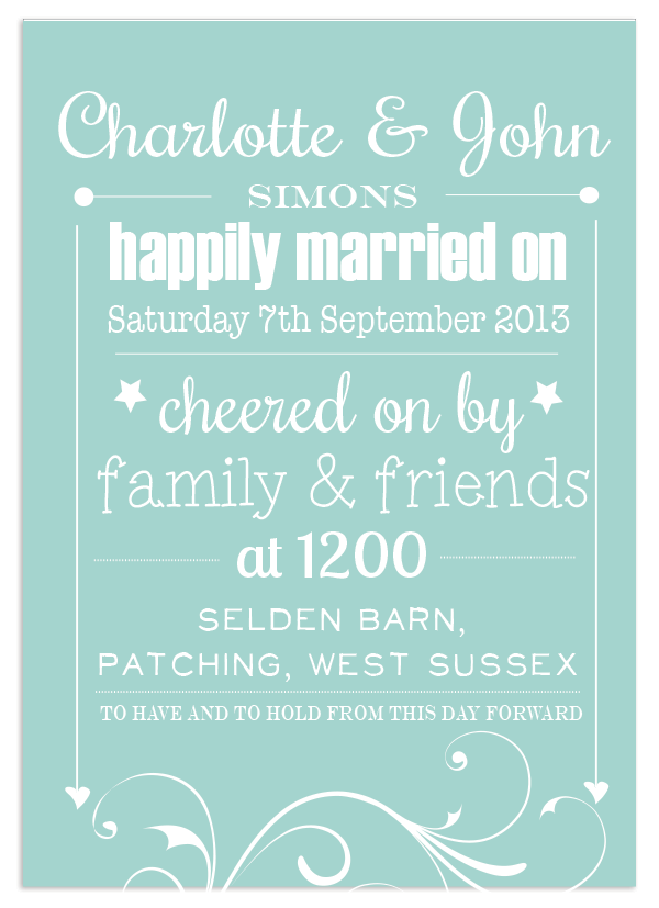 Personalised Wedding Print in Duck Egg Blue