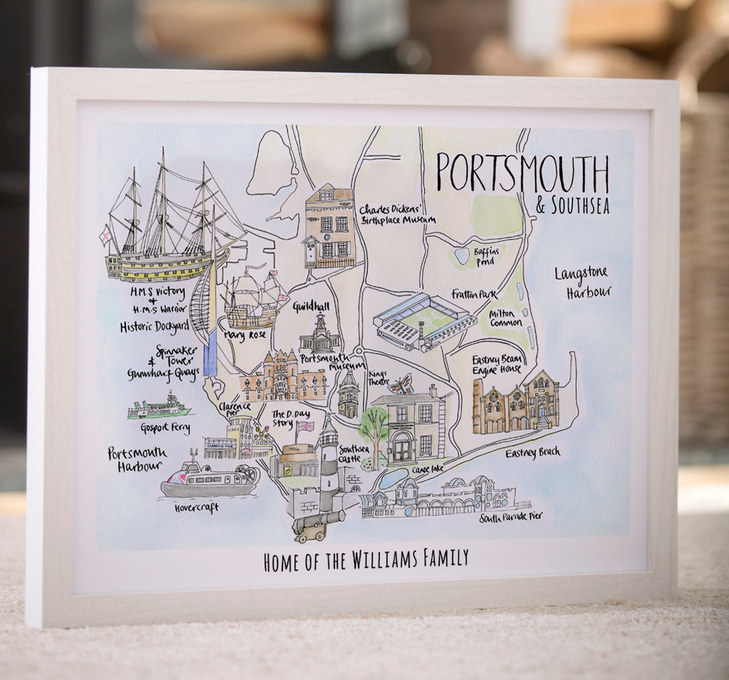 Personalised Watercolour Map of Portsmouth & Southsea