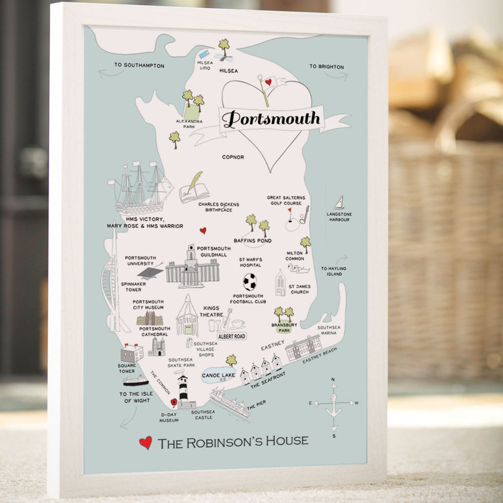 Personalised Map of Portsmouth in Duck Egg Blue