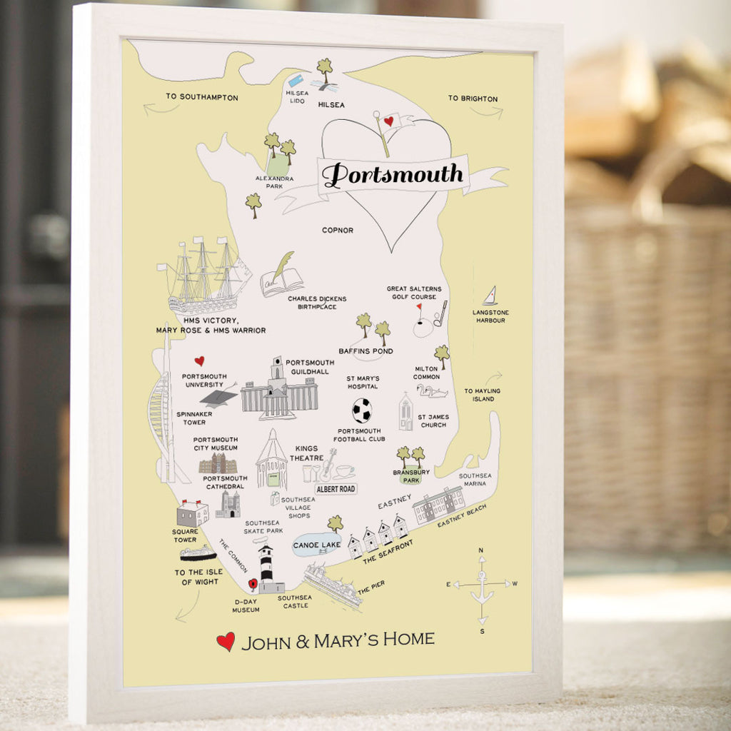 Personalised Map of Portsmouth in Lemon