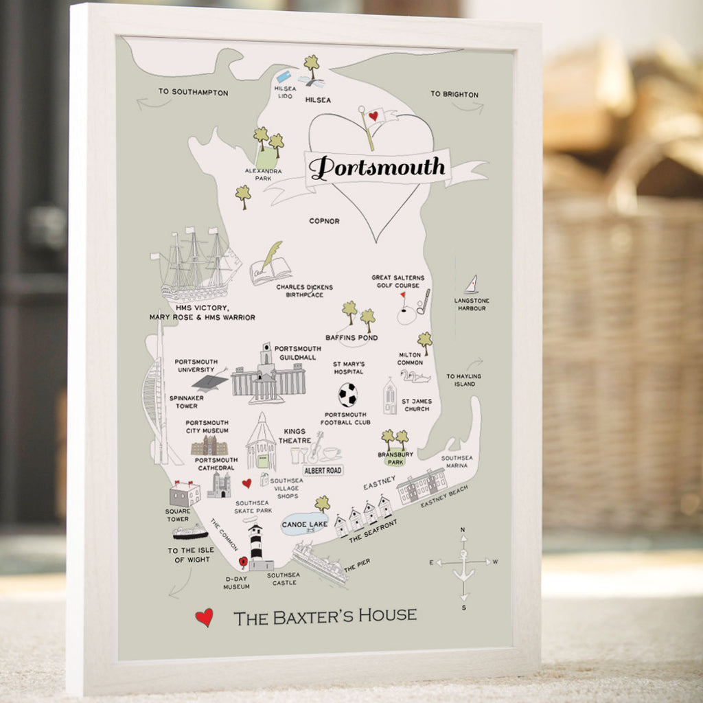 Personalised Map of Portsmouth in Sage Green