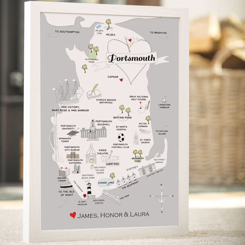 Personalised Map of Portsmouth in Grey
