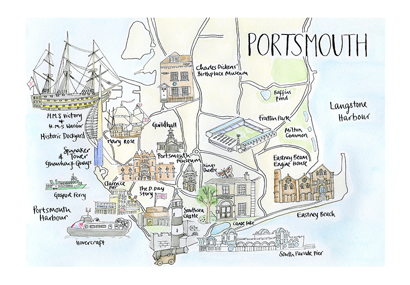 Watercolour Portsmouth Map Print