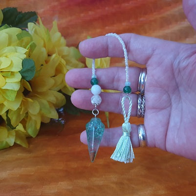 Green Crackle Quartz Green Tassel Pendulum – (ID: ap11)