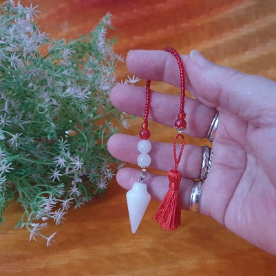 Snow Quartz Red Tassel Pendulum – (ID: ap6)