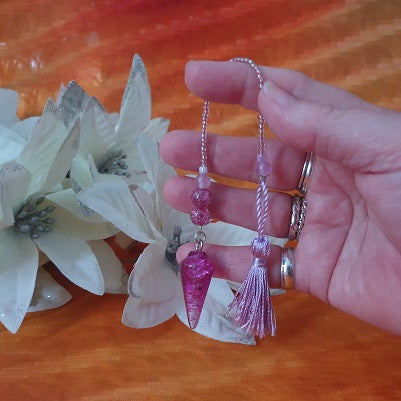 Purple Crackle Quartz Pink Tassel Pendulum – (ID: ap9)