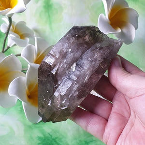 Smokey Quartz with Aegerine & Feldspar – (ID: crn7)