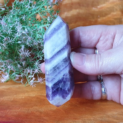 Chevron Amethyst Double Terminated Point – (ID: crp1)