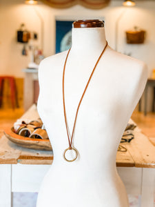 Solid Brass Ring Necklace