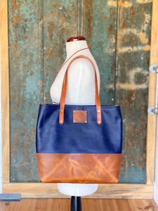 Medium Jenny Two Tone Tote in Navy and English Tan