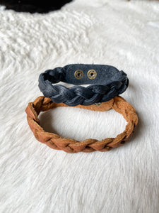 Braided Leather Bracelet-Black