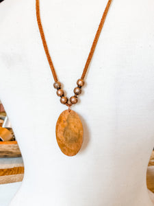 Copper Pendant Leather Necklace