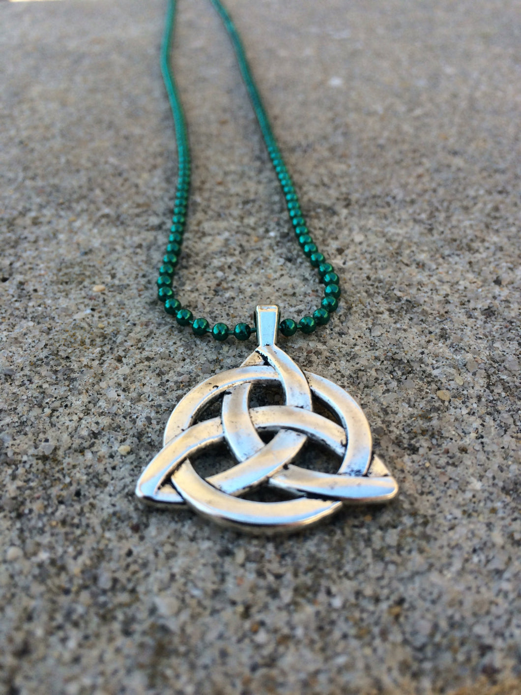 Celtic Irish Large Silver Toned Celtic Triquetra/Trinity Knot Pendant on Green Ball Chain Necklace