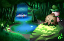 Load image into Gallery viewer, Pokemon Art Print Wooded Brooklet With Chikorita Shroomish Fomantis Magikarp Pokemon Poster Wall Art Pokemon Print Video Game Art