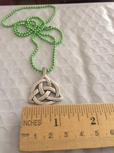 Load image into Gallery viewer, Celtic Irish Large Silver Toned Celtic Triquetra/Trinity Knot Pendant on Green Ball Chain Necklace