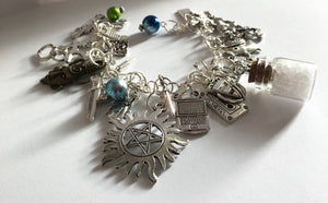 The Super Natural Bracelet Monster Hunter Brothers Charm Bracelet Mysterious Paranormal Super Fandom Jewelry Geek Gift Fandom Gift