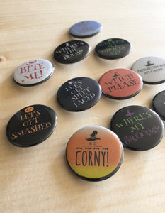 Funny Halloween Pins and Boozy Halloween Button Pins and Magnets