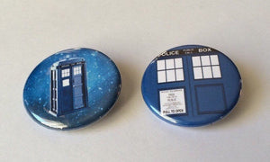 TARDIS Pin Tardis Button Doctor Who TARDIS TARDIS in Space Pin Pinback Button 2 Pack Doctor Who Pin Doctor Who Button Badge Magnets