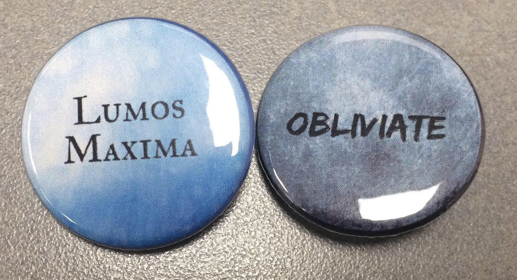 Lumos Maxima Obliviate Wizard Spells Pin Pinback Button Set of 2 Buttons Wizardry Pins Wizard Buttons Lumos Maxima Pin Magnets