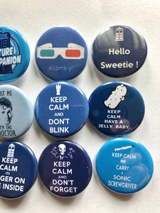 Doctor Who Quotes Buttons Badges Magnets Doctor Who Pins Doctor Who Buttons Future Companion Allonsy Timelord Hello Sweetie Sonic