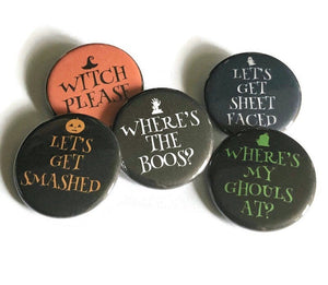 Boozy Halloween Where's the Boos Witch Please Halloween Pin Drinking PinsvSmashed Sheet Faced Halloween Pins Halloween Buttons