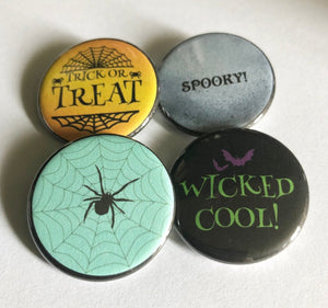 Wicked Cool Spider Trick or Treat Spooky Halloween Pin Halloween Pins Halloween Buttons Pinback Buttons Halloween Magnets Flatback