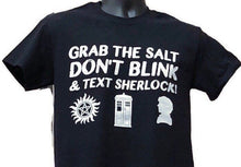 Load image into Gallery viewer, Super Who Lock T Shirt SuperWhoLock Doctor Who T Shirt Sherlock Super Hunters Antipossession Tatoo Symbol Tardis Fandom Gift Geek Gift