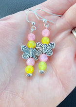 Load image into Gallery viewer, Butterfly Earrings Pink & Yellow Butterfly Earrings Dangle Butterflies Pink Butterfly Insect Sweet Nature Inspired  Flutter Yellow MLP