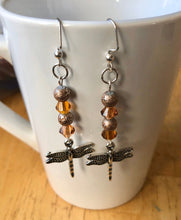 Load image into Gallery viewer, Amber Dragonfly Earrings Dragon Fly Earrings Amber and Brown Long Dragonfly Earrings  Dragonfly Jewelry Dangle Earrings