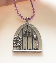 Load image into Gallery viewer, Fairy Door Necklace Fairy Door Jewelry Fantasy Necklace Magical Book Whimsical Jewelry Role Play Game Lover Gift Geek Gift Fandom Present