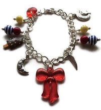 Load image into Gallery viewer, Sailor Moon Bracelet Sailor Moon Serena Usagi Inspired Silver Tone & Beaded Charm Bracelet Red Yellow and Blue Beads Sailor Moon Jewelry