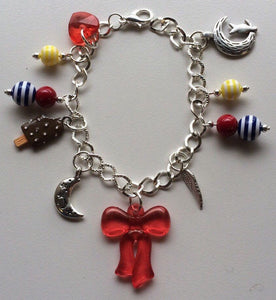 Sailor Moon Bracelet Sailor Moon Serena Usagi Inspired Silver Tone & Beaded Charm Bracelet Red Yellow and Blue Beads Sailor Moon Jewelry