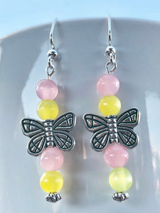 Butterfly Earrings Pink & Yellow Butterfly Earrings Dangle Butterflies Pink Butterfly Insect Sweet Nature Inspired  Flutter Yellow MLP