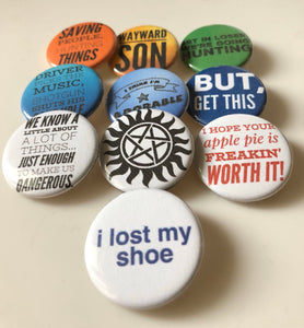 Wayward Son Saving People Hunting Things Driver Picks the Music Demon Hunter Monster Hunters The Super Natural Buttons Pins Magnets