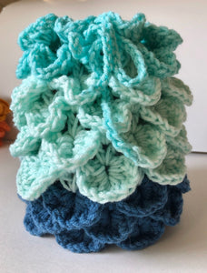 Dragons Egg Dice Pouch Mint Green and Blue Ombré Dragon's Scale Dice Bag Crochet Bag  Tabletop Gaming Accessories Dice Bag DnD Dice Bag
