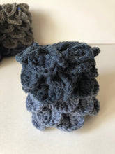 Load image into Gallery viewer, Dragons Egg Dice Pouch Navy Blue and Denim Blue Ombré Dragon's Scale Dice Bag Crochet Bag  Tabletop Gaming Accessories Dice Bag DnD Dice Bag