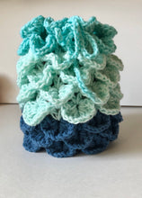 Load image into Gallery viewer, Dragons Egg Dice Pouch Mint Green and Blue Ombré Dragon's Scale Dice Bag Crochet Bag  Tabletop Gaming Accessories Dice Bag DnD Dice Bag