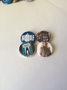 Bad Wolf Doctor Who Rose Tyler Bad Wolf Button Pins Bad Wolf Pin Doctor Who Button Doctor Who Pin Bad Wolf Button