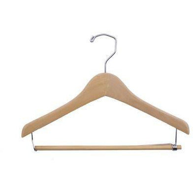 "14"" CONCAVE WOODEN SUIT HANGER WITH LOCKING BAR"