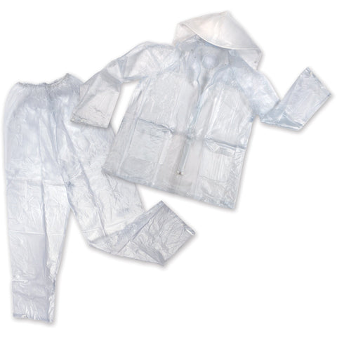 CLEAR VINYL RAIN SUIT W/ DETACHABLE HOOD - ASSORTED SIZES
