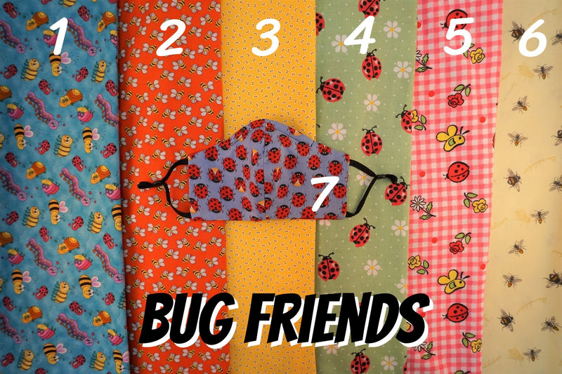 COTTON FACE MASK WITH FILTER POCKET: Bug Friends